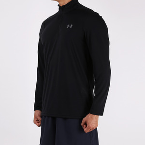 언더아머 남성 쓰리본 쿼터 집 탑 블랙(Under Armour Threadborne Quarter Zip Top Mens black)